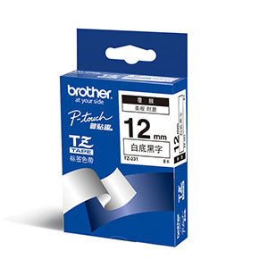 Brother Ribbon 12mm Black/White - TZE-231