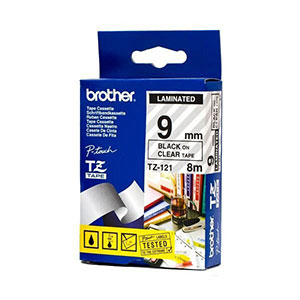 Brother Ribbon 9mm Black/Clear - TZ-121