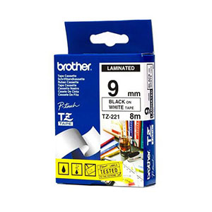 Brother Ribbon 9mm Black/White - TZE-221