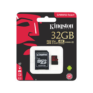 Kingston 32GB Canvas React Micro SD Card Class 10