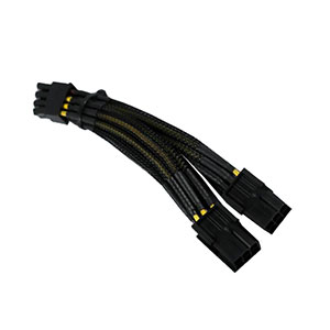Traffic Cable Dual 6pin to 8pin Black