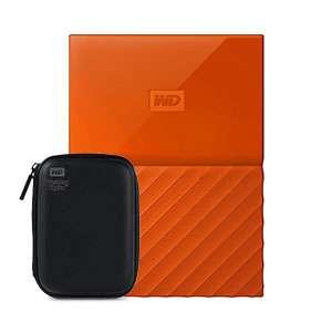 Western Digital My Passport 2TB Portable Hard Disk Orange With HDD Case